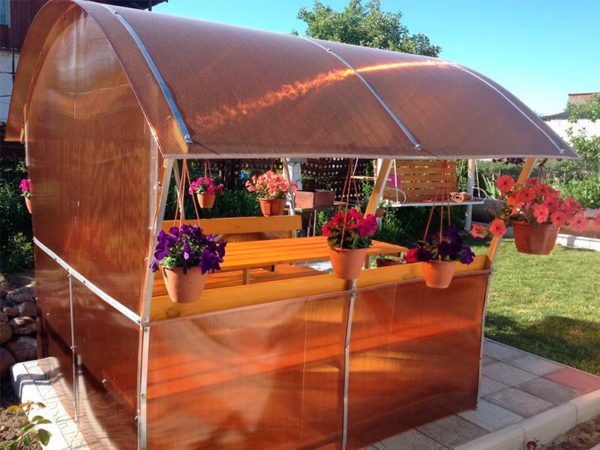 Беседка для сада Астра цвет поликарбоната коричневый