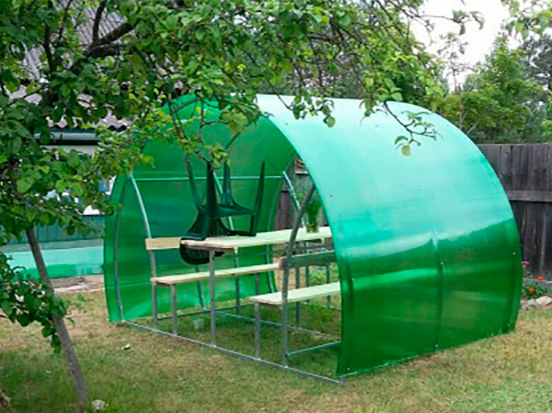 Готовая беседка Пион цвет поликарбоната зеленый