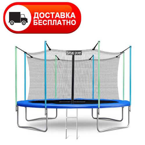 Батут Atlas Sport 374 см (12ft) 4 с внутренней сеткой и лестницей