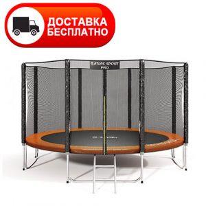 Батут Atlas Sport PRO 374 см (12 ft) с внешней сеткой, лестницей, усиленной опорой