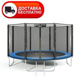 Батут Atlas Sport PRO 435 см (14ft) с внешней сеткой, лестницей, усиленной опорой