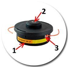Катушка с металлической вставкой для подачи лески и металлическим сердечником Autocut 25-2