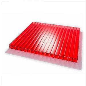 Лист сотового поликарбоната красного цвета