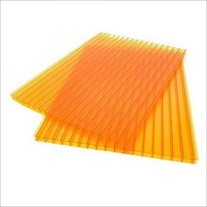 Лист сотового поликарбоната оранжевого цвета
