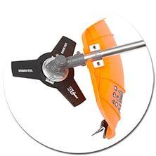 Металлический трехлопастной нож в комплекте бензокосы